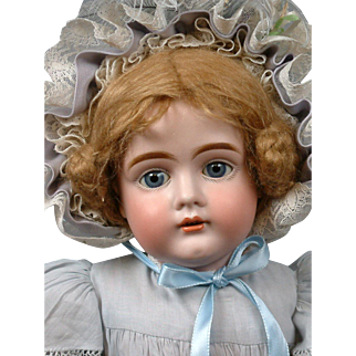 "Beautiful 22.5"" Antique Kestner 161 Doll on Pristine Body in Pale Blues"