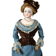 "19.5"" Poupee by Gaultier With Large Blue Eyes In Silk Ensemble!"