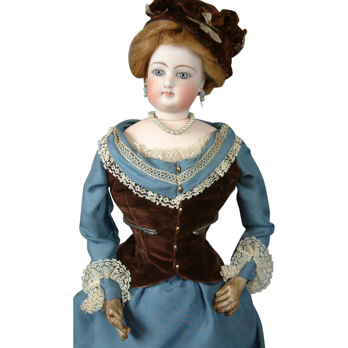 """19.5"""" Poupee by Gaultier With Large Blue Eyes In Silk Ensemble!"""