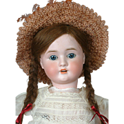 "Schoneau & Hoffmeister 1906 20"" Antique Bisque Doll in Straw Hat"