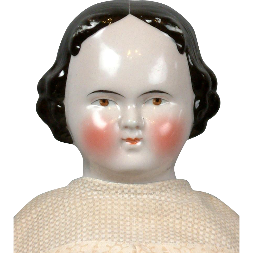 """22.5"""" Lovely Original Brown-Eyed Antique China Lady Doll circa 1890"""