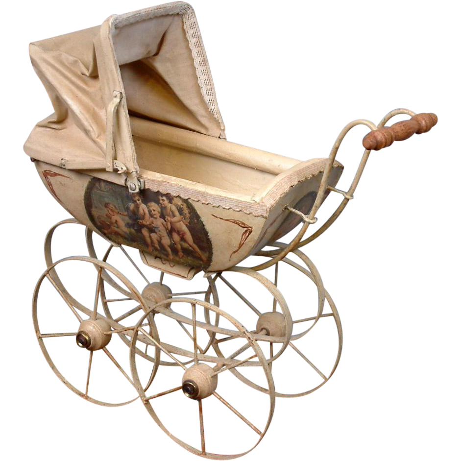 Exquisite French Antique Baby Doll Carriage circa 1890 in Wood with Lithographed and Painted Children Scenes