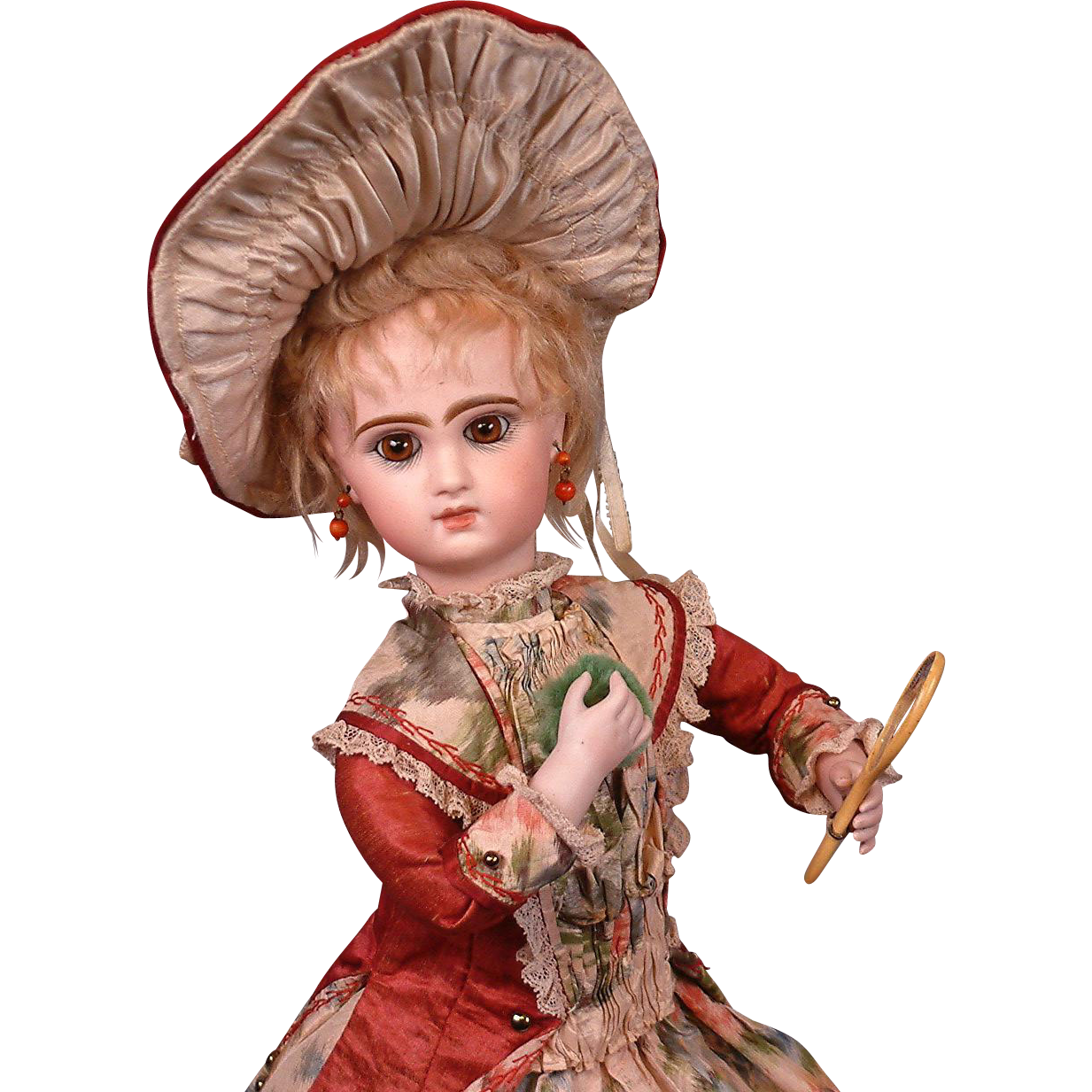 """*Collector's Desire* Tete Jumeau """"Powder Puff Lady* Musical Automaton with Total Height 21.5"""""""