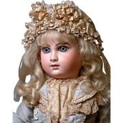 """Rare & Desirable 22"""" Early Premiere """"Deluxe"""" Portrait Bebe by Jumeau Size 10 with Captivating Face!-Stunning Costume, Signed Shoes JUST WOW!"""