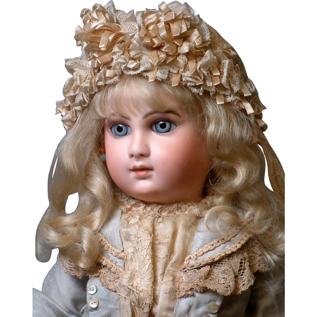 "Rare & Desirable 22"" Early Premiere ""Deluxe"" Portrait Bebe by Jumeau Size 10 with Captivating Face!-Stunning Costume, Signed Shoes JUST WOW!"