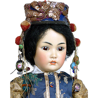 "17"" Beautiful Antique Simon & Halbig Rare 1329 Oriental Child Doll in Great Costume Representing a Chinese Child! Circa 1900"