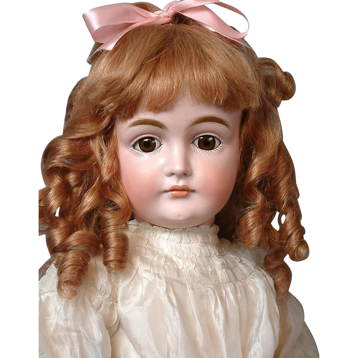 "25"" Kestner Closed Mouth Pouty Doll circa 1890 in Antique White Silk Dress -- Excellent Condition!"
