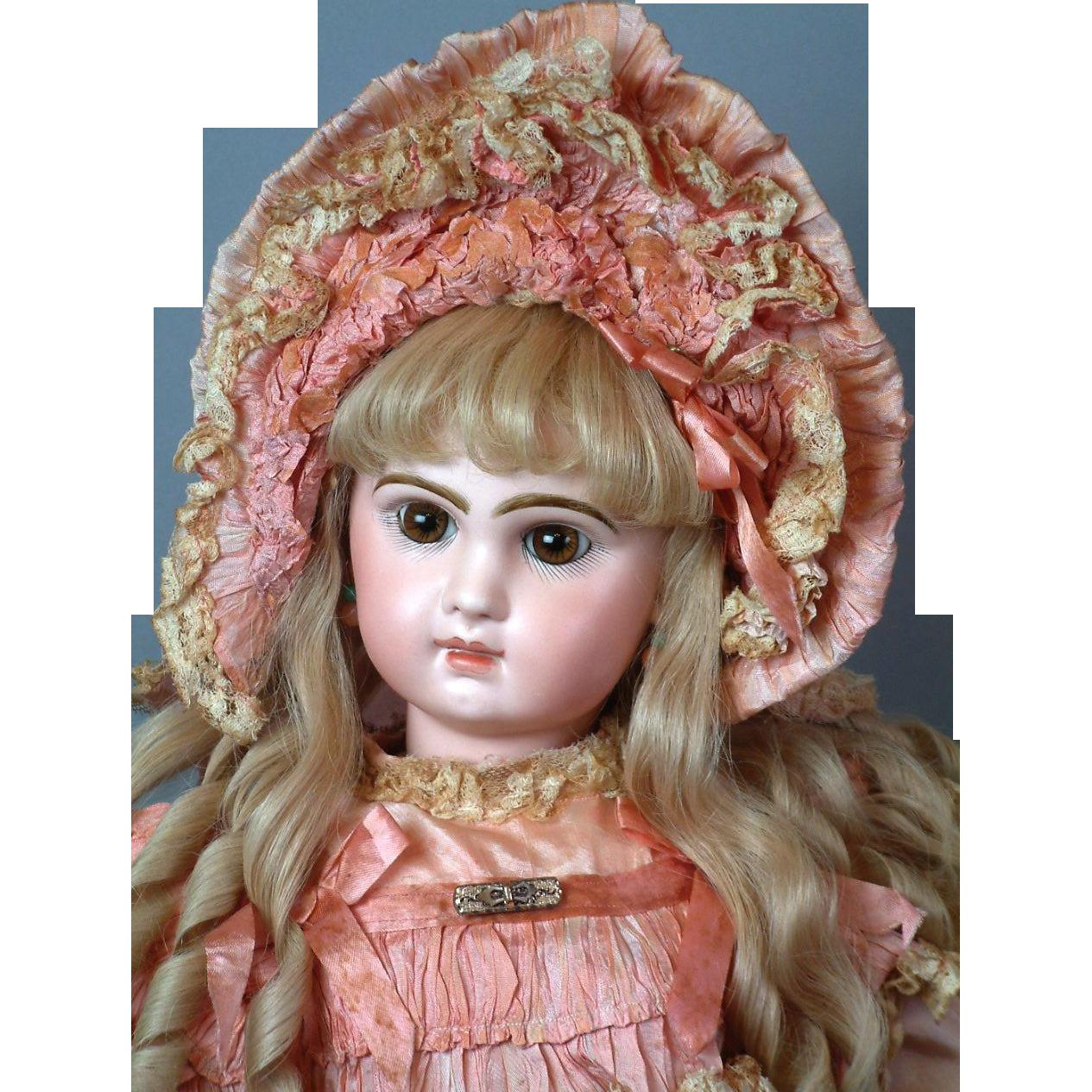 """24"""" Closed Mouth Tete Jumeau in Fancy Pink Dress & Bonnet!"""
