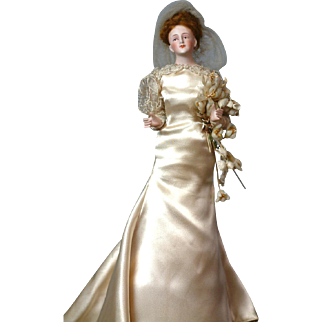 "11.5""  All Original Bisque Half-Doll Bride With Jointed Arms with Wax Flower Bouquet"