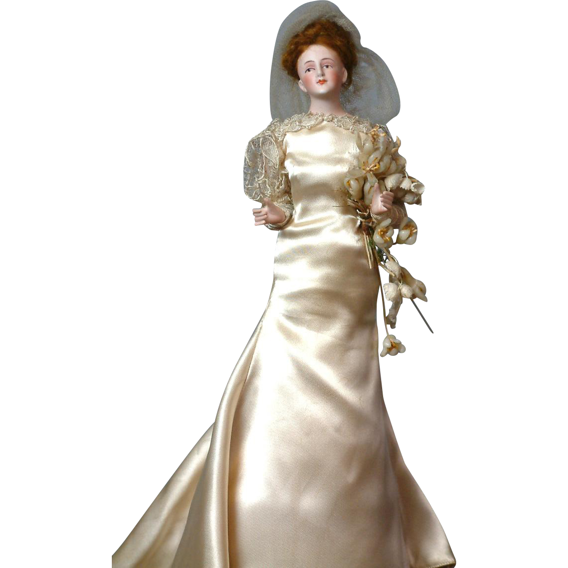 """11.5""""  All Original Bisque Half-Doll Bride With Jointed Arms with Wax Flower Bouquet"""