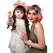 """Huge Chunky 35"""" Blue-Eyed Jumeau Bebe French Antique Doll in Classic Antique Costume! Stunning Perfect Example!"""