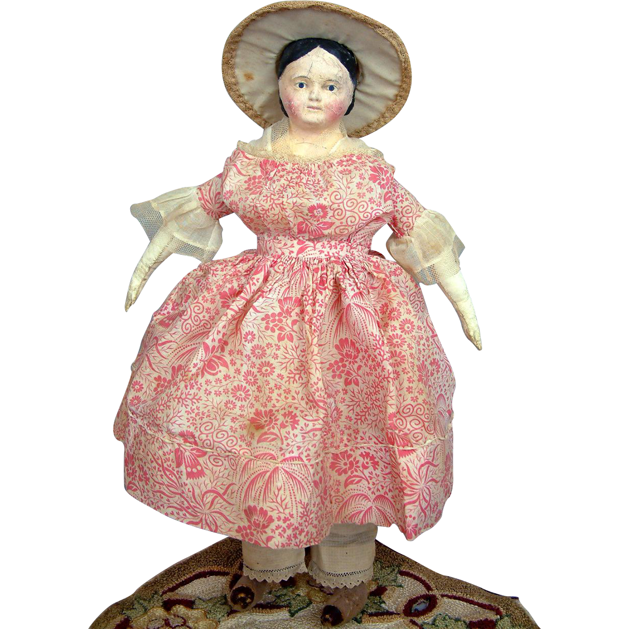 "13.5"" All Original Covered Wagon Antique German Papier Mache Doll C. 1850-60"