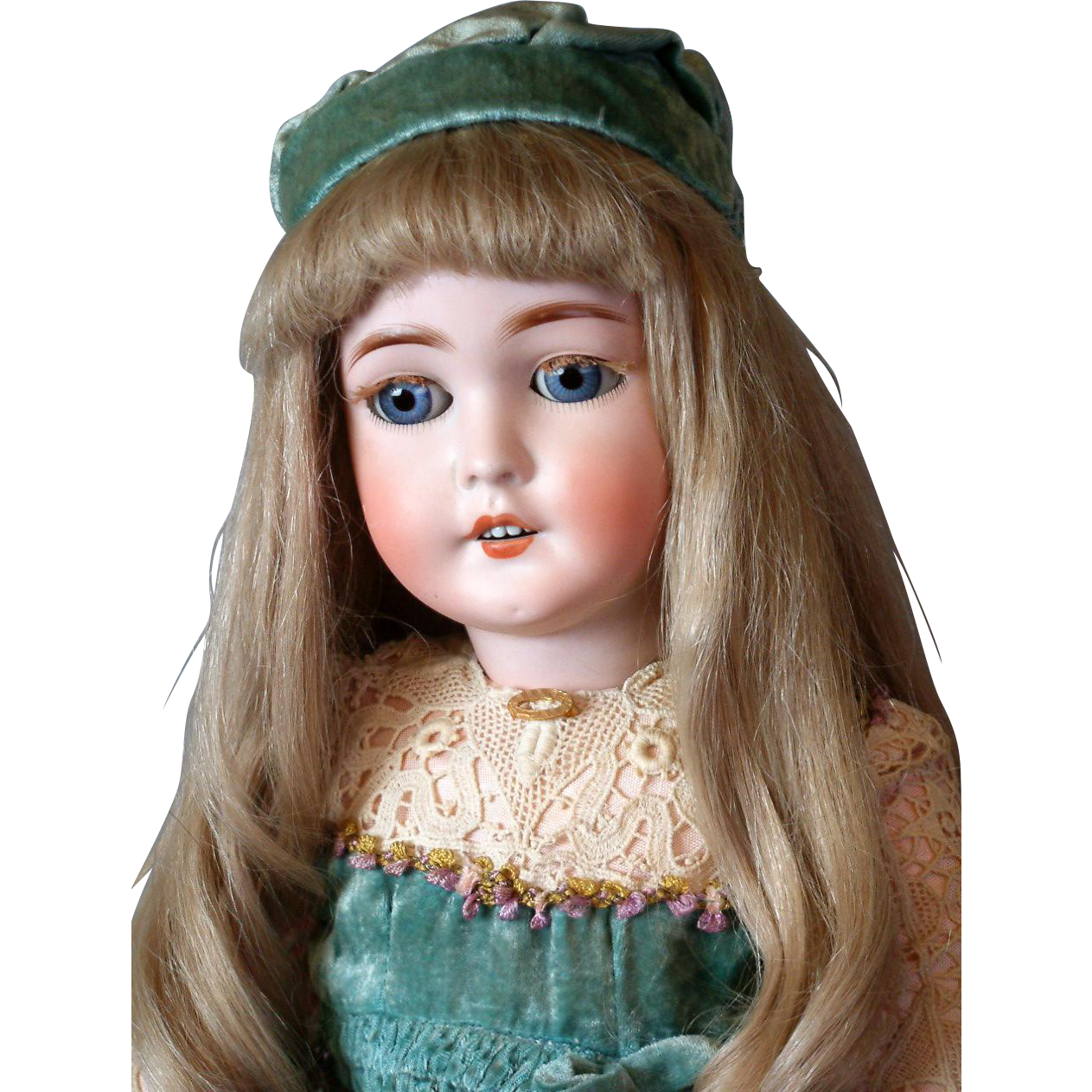 """*Precious* Queen Louise Antique Doll 24"""" Attributed to Armand Marseille in Velvet Gown"""