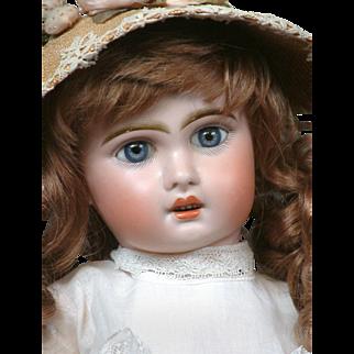 "Gorgeous 19"" Tete Jumeau 1907 Size 9 Bebe with Original Blue Paperweight Eyes & Superb Antique Dress & Hat!!"