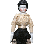 "20"" Pink Tint China Lady Doll With ""Waterfall Chignon""  Exposed Ears & Original Limbs C. 1870 In Fancy Antique Lady Costume"