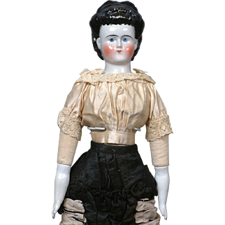"""20"""" Pink Tint China Lady Doll With """"Waterfall Chignon""""  Exposed Ears & Original Limbs C. 1870 In Fancy Antique Lady Costume"""