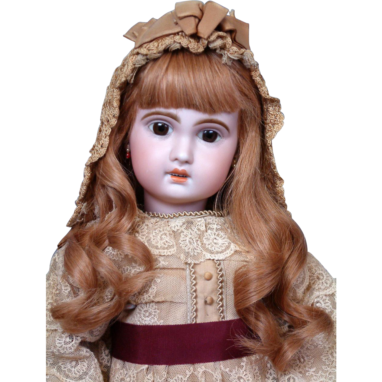"""Angelic 26"""" Antique French Jumeau Bebe 1907 with Antique Bonnet & French Human Hair Wig"""
