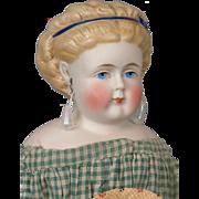 "13"" All Original Antique Tinted Bisque Lady Doll ~Delightful Maid Costume c 1870"