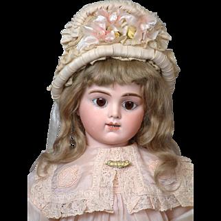 "23.5"" French Bebe Bru Jeune R 10 with Rare 2 rows of Teeth, Original Mohair wig, Sweet Silk Dress!"