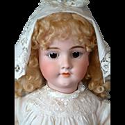 "Incredible 31"" Walkure Antique German Doll in Antique Dress & Bonnet"