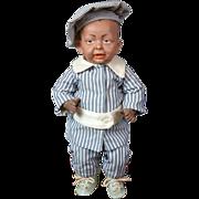 """Rare Antique Black Bisque Kaiser Baby KR 100 14"""" in Pinstripe Costume"""