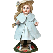 "9.5"" Antique All Bisque German Mignonette Doll with Long White Stockings & 5 Strap Molded Shoes, Closed Mouth, Great Condition!"