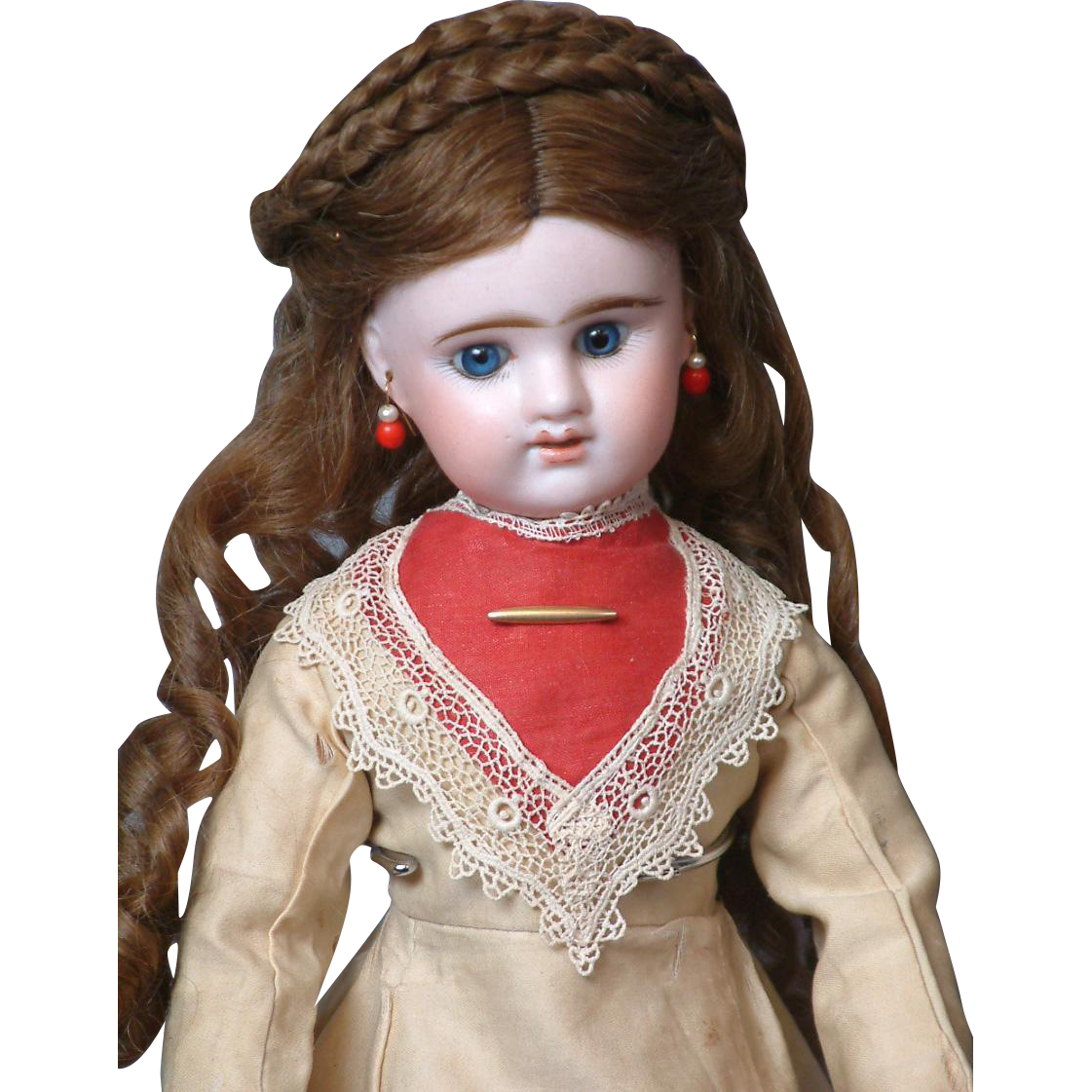 "19"" Etienne Denamur French Lady Doll Circa 1889 on French Lady Body and Original Victorian Fashion Gown"