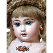 """Fabulous 25"""" Closed Mouth Tete Jumeau Bebe With Stunning Blue Eyes—She Has THE LOOK!"""
