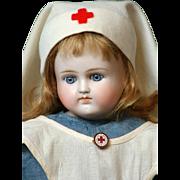 """Alt Beck & Gottschalk 17"""" Antique Closed-Mouth Turned Shoulder-head Bisque Doll in Nurse Costume"""