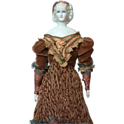 """Superb Early 12"""" Parian Lady  """"Empress Eugenie"""" with Blue Eyes & Lustre Headdress in Fabulous Costume"""