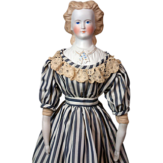 "Demure 25"" Antique Parian Lady with Detailed Plate & Original Antique Undergarments c.1875"