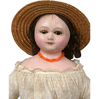 Early All Original Antique Wax-Over Paper Mache Child With Unique Wire-Lever Sleep Eyes c.1855