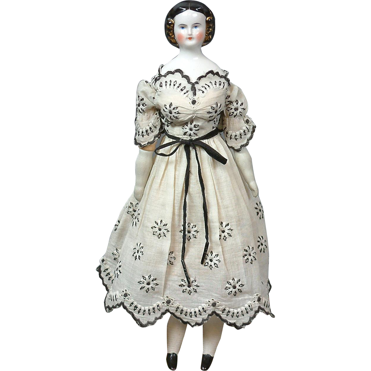 """12.5"""" China Doll with Golden Snood circa 1860 The Dainty Daisy Lady in Fabulous Enfantine Dress"""