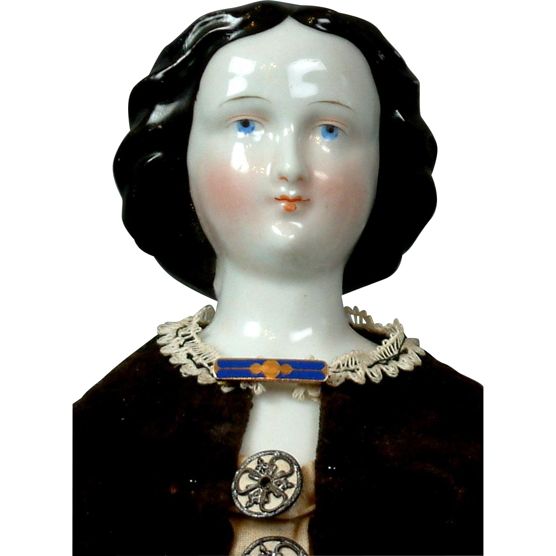 """13.5"""" Rare Early China Doll with Coiled Chignon in Original Ensemble"""