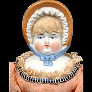 "Charming Antique Parian Bonnet Head Doll on Original Body 18"""