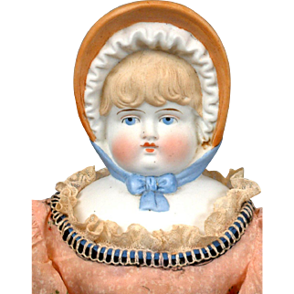 Charming Antique Parian Bonnet Head Doll on Original Body 18""
