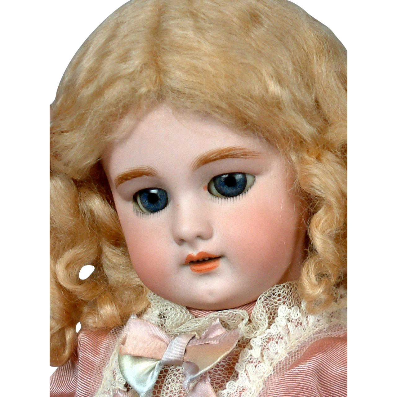 """Angelic French DEP 16.5"""" Antique Bisque Doll in Bebe-Style Dress"""