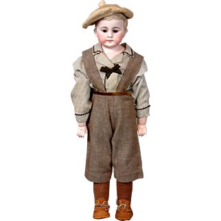 "Adorable William Goebel Antique Bisque ""American Schoolboy"" on Kidskin Body with Bisque Arms"