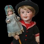 """~Rare~ 15.5"""" Antique AM 3200 Shoulder-head Marotte Doll w/ Bisque Arms!"""