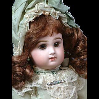 "17"" Size 7 French Tete Jumeau Bebe in a Wonderful Pale Mint Silk & Lace Dress"