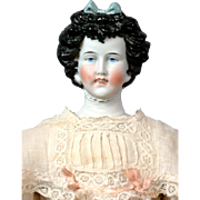 """Exquisite Limbach Porzellanfabrik Antique Parian Lady with Detailed Plate in Antique Costume 18"""""""