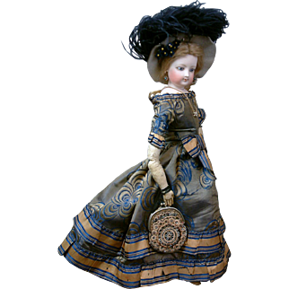 """Delectable """"Sweet Adeline"""" 14.5"""" All Antique Jumeau Poupee Peau Fashion Doll in Stunning Silk Gown!"""