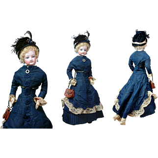 "*Demure* Jumeau Poupee Peau Fashion Lady ""Clare"" in Original Victorian walking Gown 15.5"""