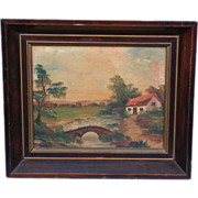 Adorable Antique Pastoral Oil Painting C. 1915 Signed H Y Marx Original Mahogany Frame