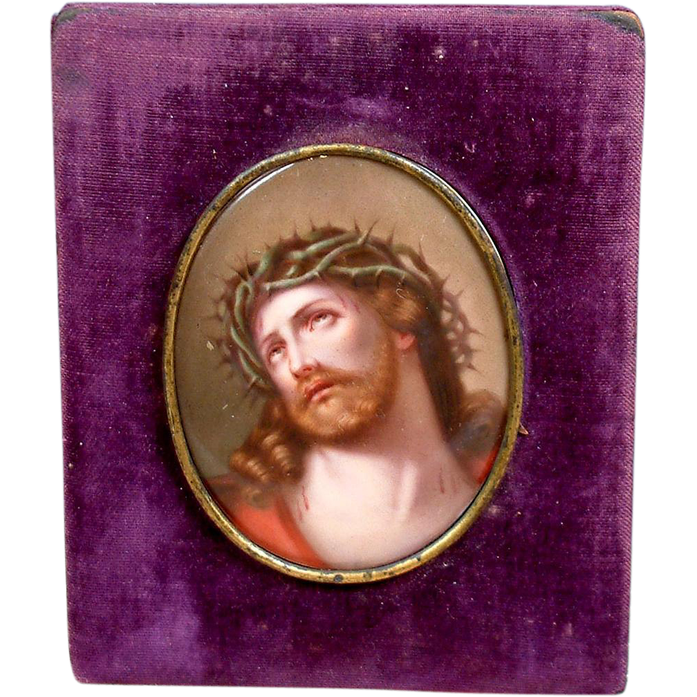 Superb Large Hand Painted Devotional Porcelain Passion of Christ KPM Quality