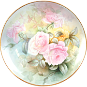 "Pristine 12.5"" T&V Limoges Rose Tea Charger Dresser Plate Victorian- Simply Magical Rare Yellow Rose - Red Tag Sale Item"