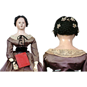"""Incredible 28"""" Open Mouth French Papier Mache Lady C. 1840 Paper Mache"""