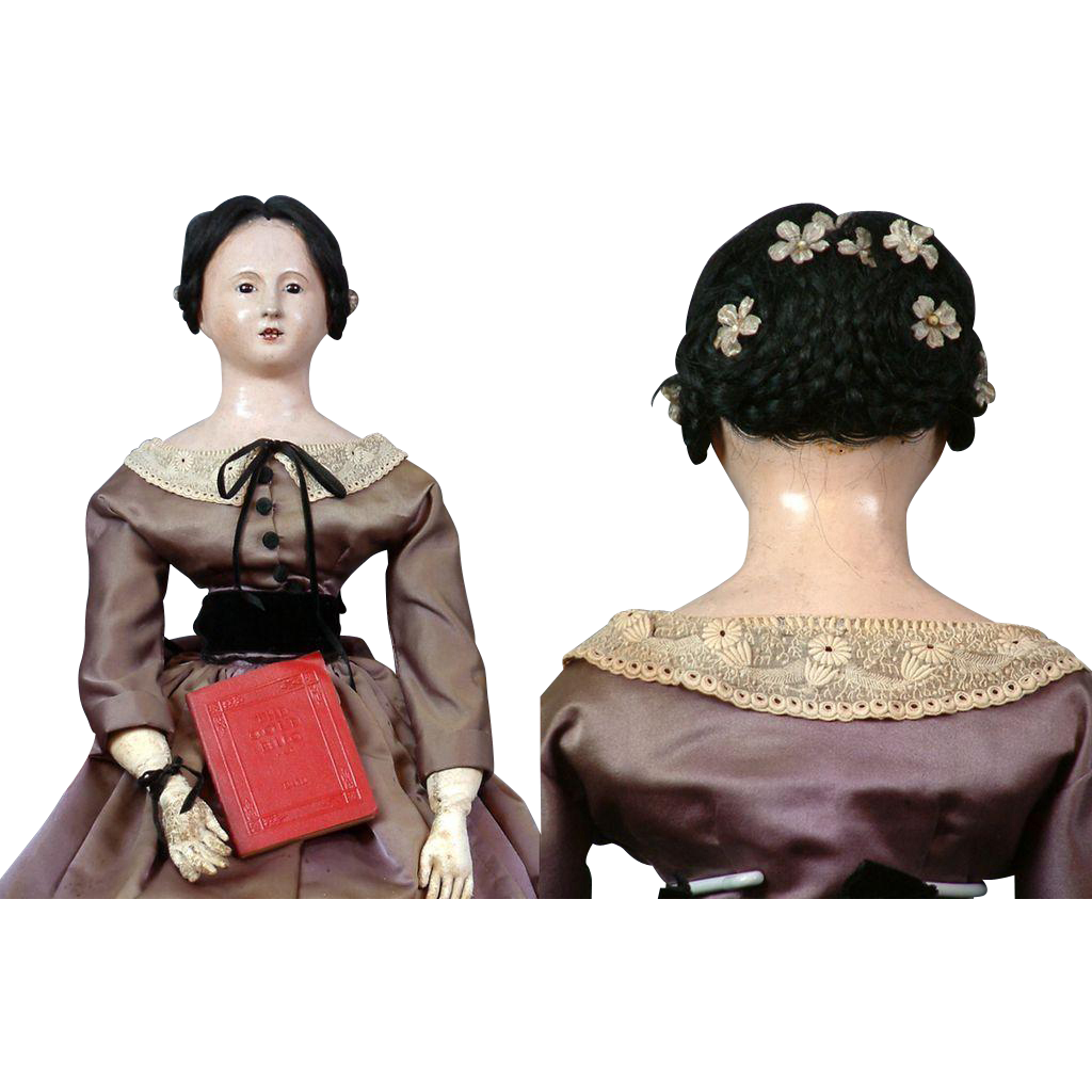 "Incredible 28"" Open Mouth French Papier Mache Lady C. 1840 Paper Mache"