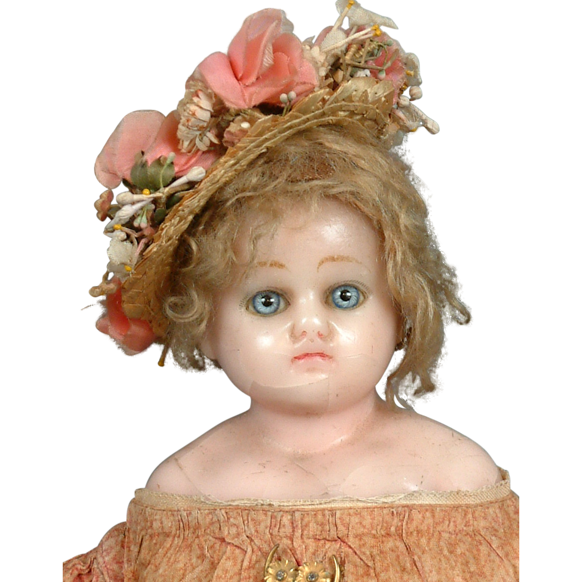 """17"""" Blue-Eyed 1840s Antique Wax Doll -- Delicate and ..."""