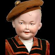 """Super Rare Gebruder Heubach 7647 Smiling Boy All Original C. 1912 20"""" WOW"""